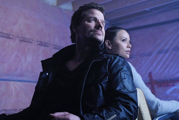 "DARK MATTER -- ""Is That A Paradox?"" Episode 309 -- Pictured: (l-r) Anthony Lemke as Three, Melissa O'Neil as Two -- (Photo by: Stephen Scott/Dark Matter Series 3/Syfy)"