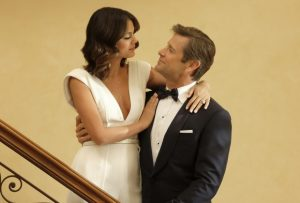 "Dynasty -- ""Pilot"" Pictured (L-R): Nathalie Kelley as Cristal and Grant Show as Blake -- Photo: Mark Hill/The CW"