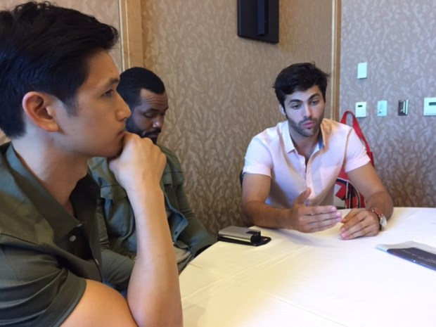 Pictured (l-R) Harry Shum Jr, Isaiah Mustafa and Matthew Daddario. Photo Credit Pauline Perenack/ScreenSpy Magazine