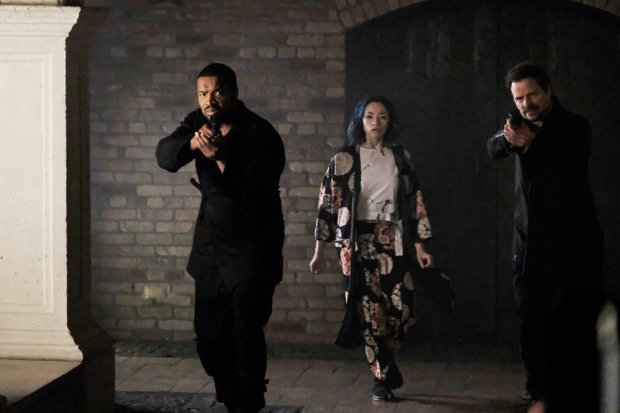 "DARK MATTER -- ""My Final Gift To You"" Episode 312 -- Pictured: (l-r) Roger Cross as Six, Jodelle Ferland as Five, Anthony Lemke as Three -- (Photo by: Stephen Scott/Dark Matter Series 3/Syfy)"