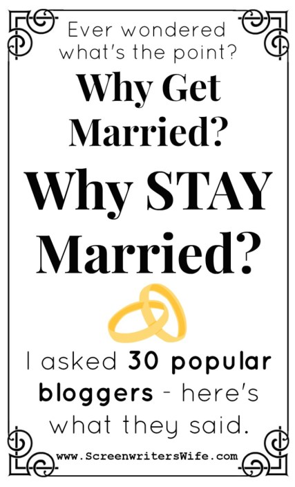 Every wondered why people get married in the first place? Why, years later, they choose to continue staying married? I asked 30 bloggers 1) Why did you get married? and 2) Why do you stay married?  I then compiled all the answers into this amazing marriage roundup post! Pull up a chair and dive in to these marriage stories. :)