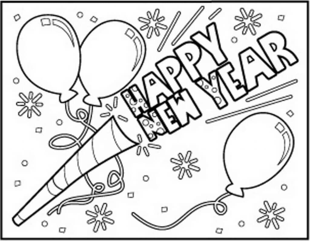 Printable New Year 2018 Coloring Pages