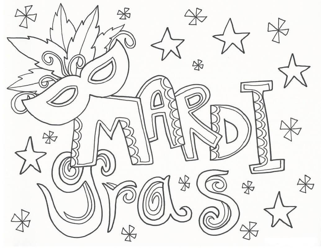 Mardis Gras Traceable Worksheet
