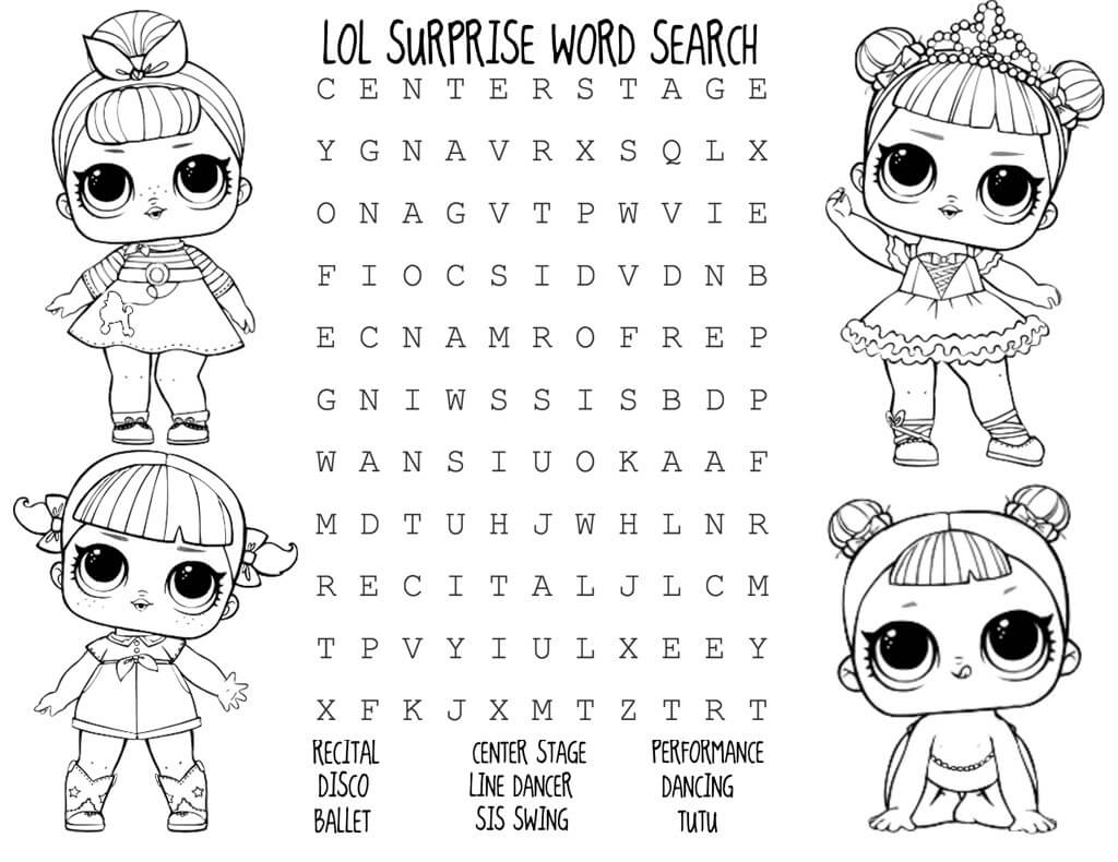 Lol Surprise Word Search