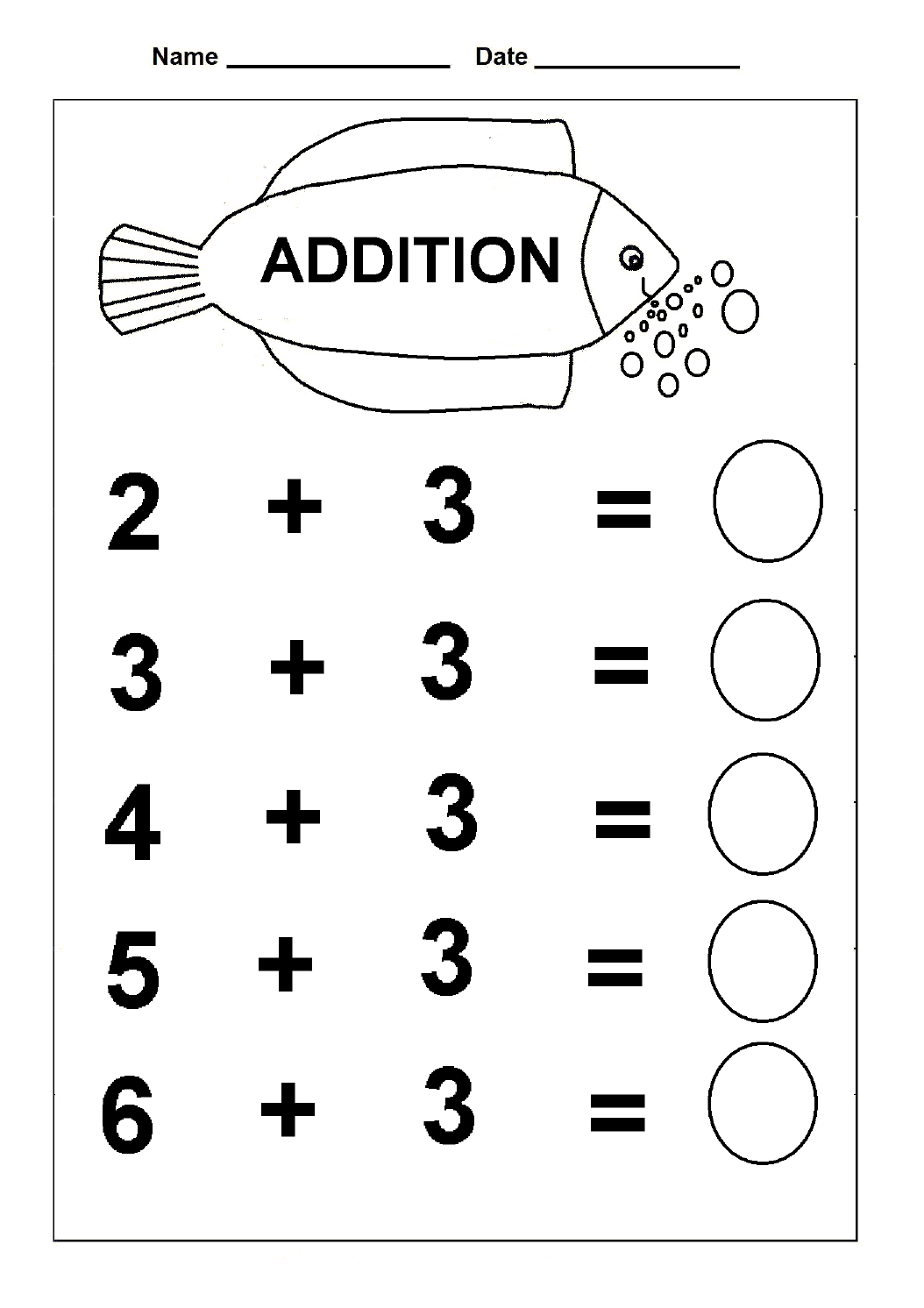 Math Worksheet For Kindergarten Subtraction And Addition