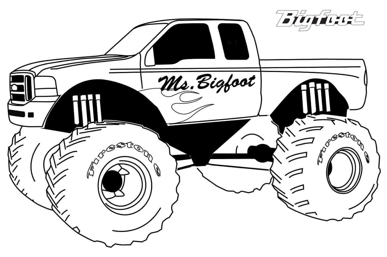 Free Printable Monster Jam Coloring Pages Bigfoot Monster