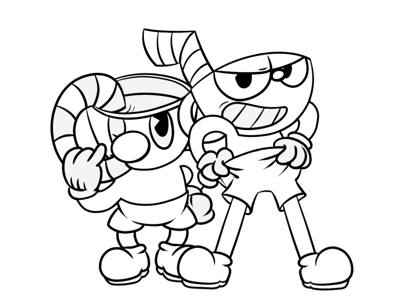 10 free printable cuphead coloring pages