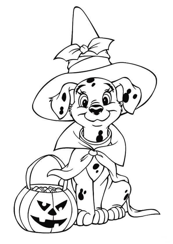 Dalmatian Halloween Coloring Page