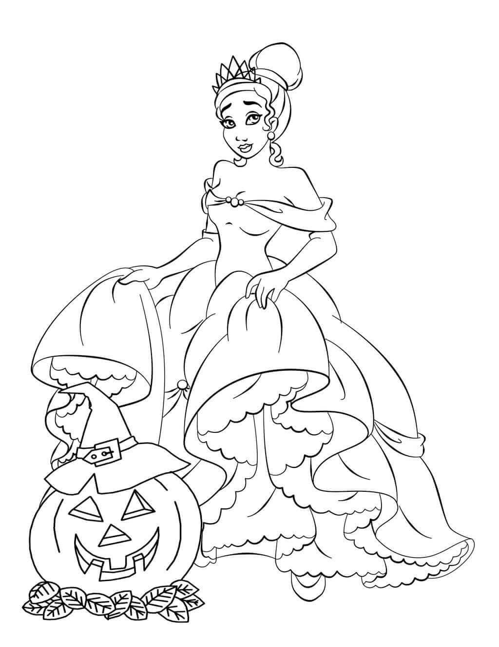 Princess Tiana Halloween Coloring Page
