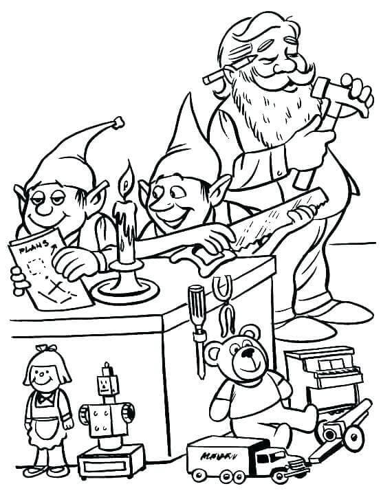 Santa And Elf Coloring Pages Free Printable
