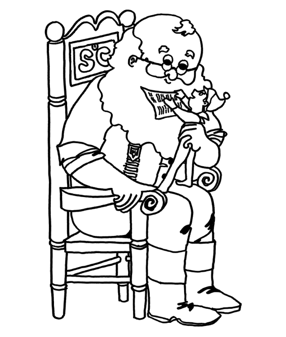 Santa With Elf On Shelf Coloring Pages