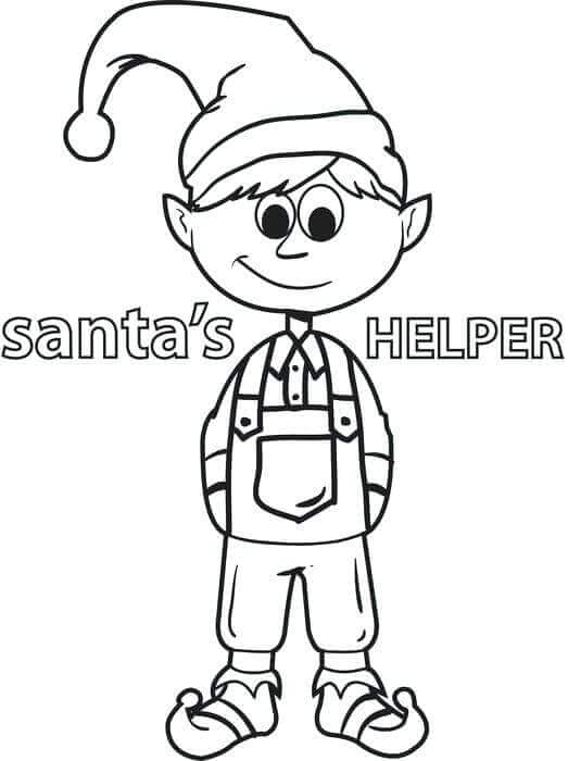 Santas Helper Elf Coloring Page
