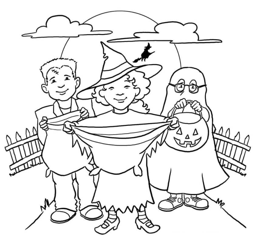 20 free printable trick or treat coloring pages