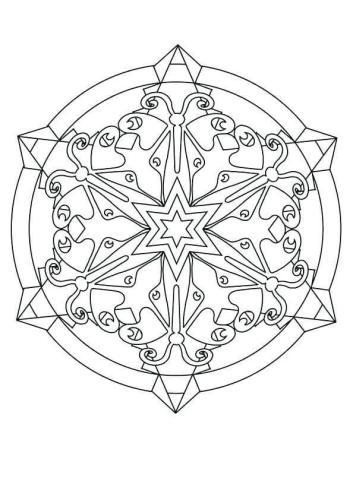 Snowflake Mandala Coloring Page