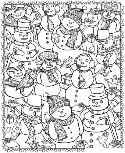Snowman Coloring Pages For Adults