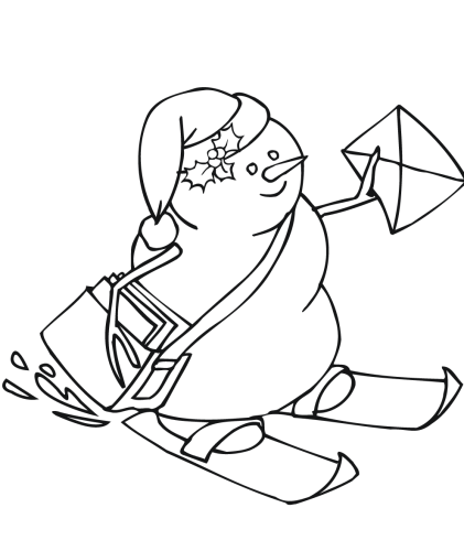 Snowman With A Mail Coloring Sheet