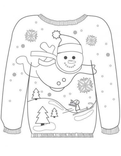 Christmas Sweater With Flying Snowman Coloring Page