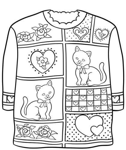 free ugly christmas sweater coloring pages printable