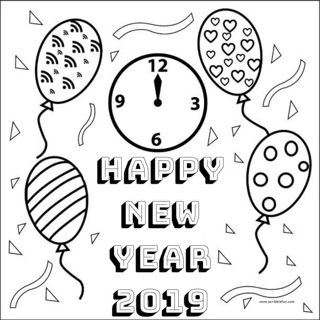 Free New Year Coloring Pages Printable