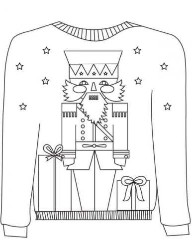 Nutcracker Ugly Christmas Sweater Coloring Image