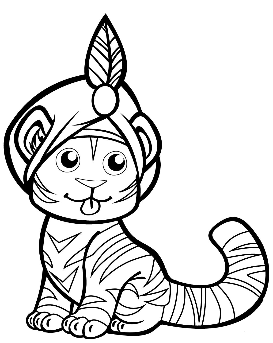 Tiger In Turban Coloring Page Scribblefun