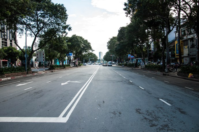 An extremely rare sight in Saigon - an empty road