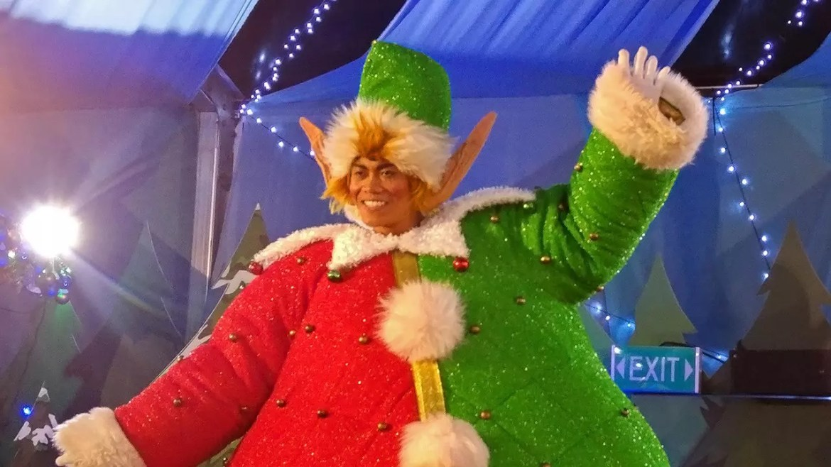 Santa's Village dancing elf at USS Santa's All-Star Christmas 2016.