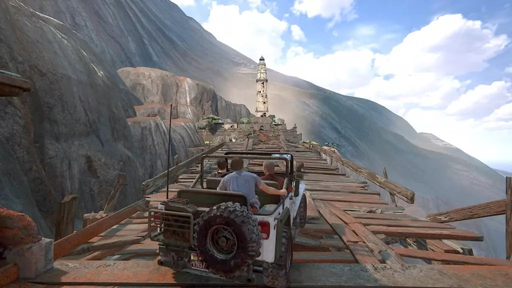 Rickety bridge in Uncharted 4 - A Thief's End
