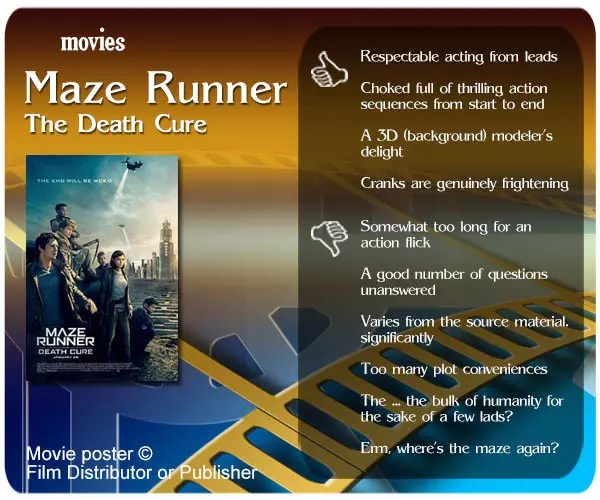 Maze Runner: The Death Cure review - 4 thumbs up and 6 thumbs down.