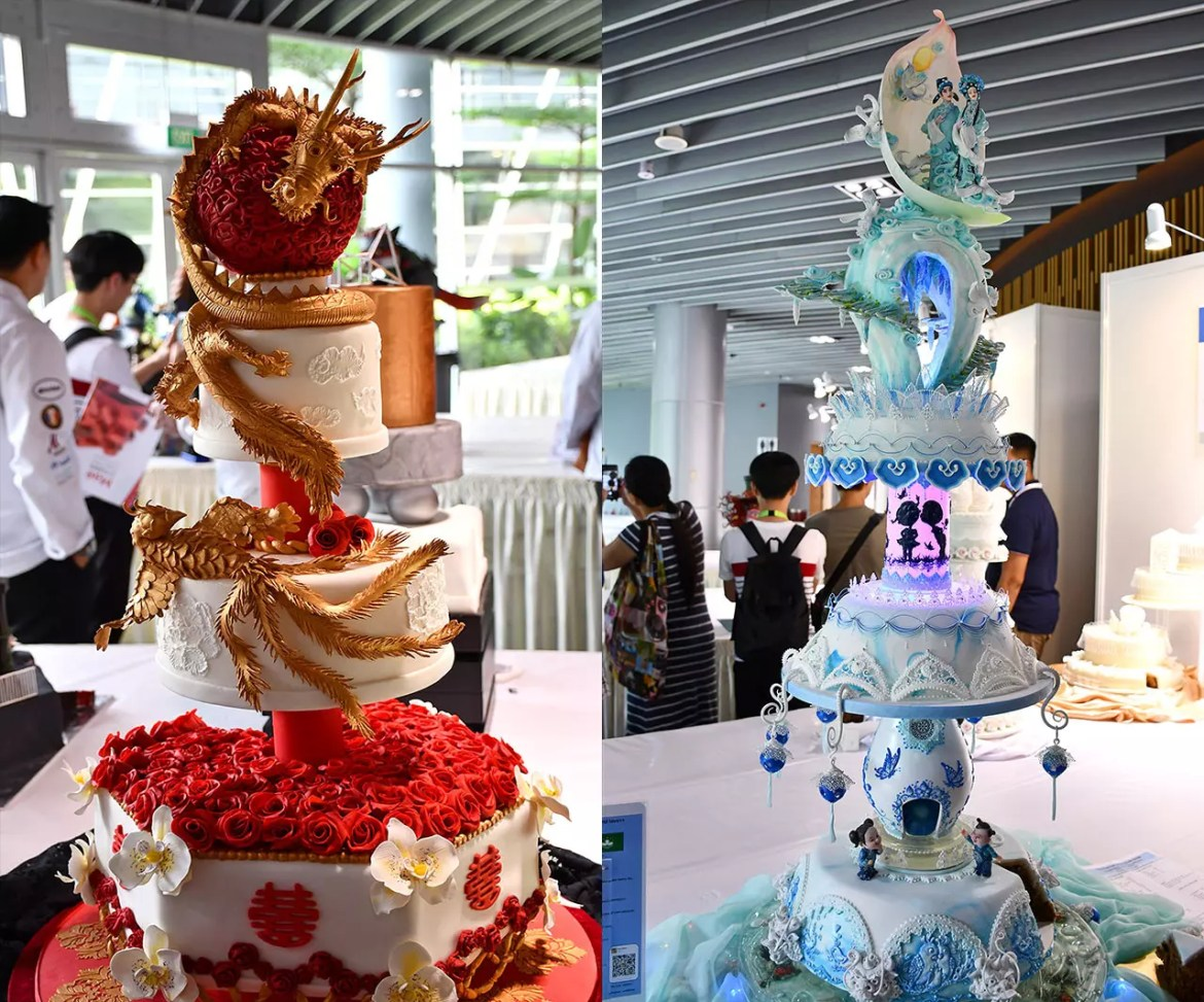 Elaborate Wedding Cakes at Food and Hotel Asia 2018.