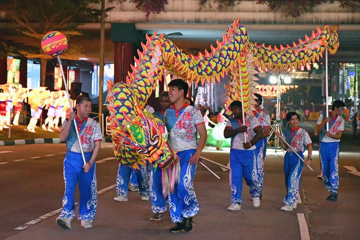 Chinese Dragon Dance at Chinatown, Singapore