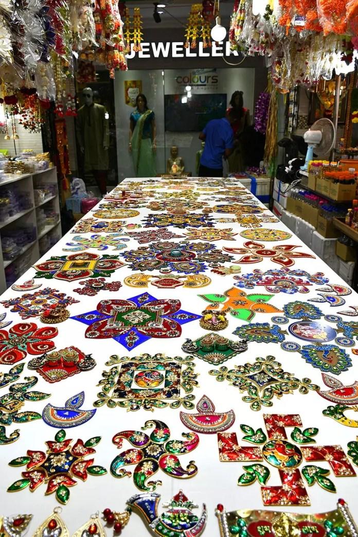 Rangoli decorations at Little India Deepavali Light-Up 2018 Festive Market