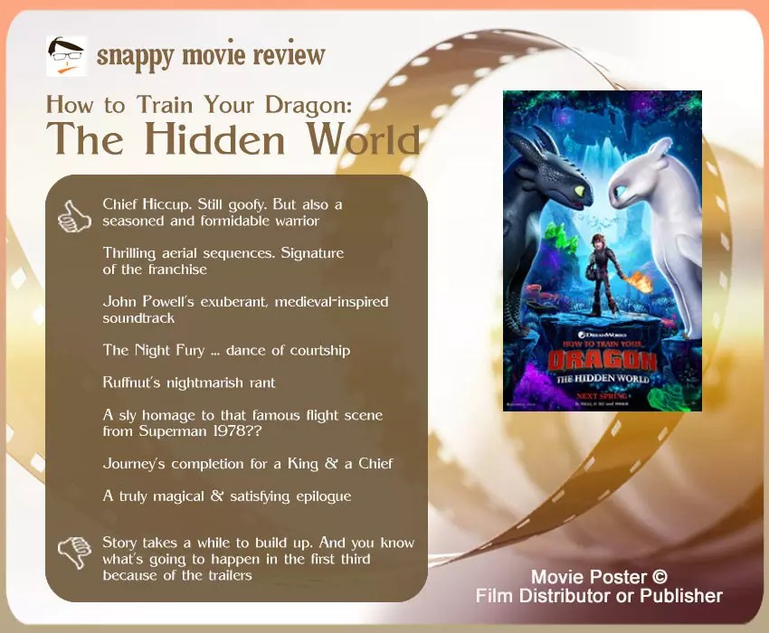 How to Train Your Dragon: The Hidden World  Review:  8 thumbs up & 1 thumb down