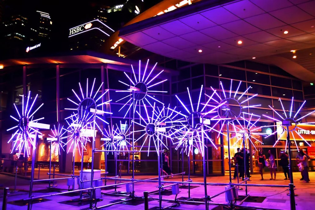 Flower Clock Light Sculpture at One Fullerton, Singapore.