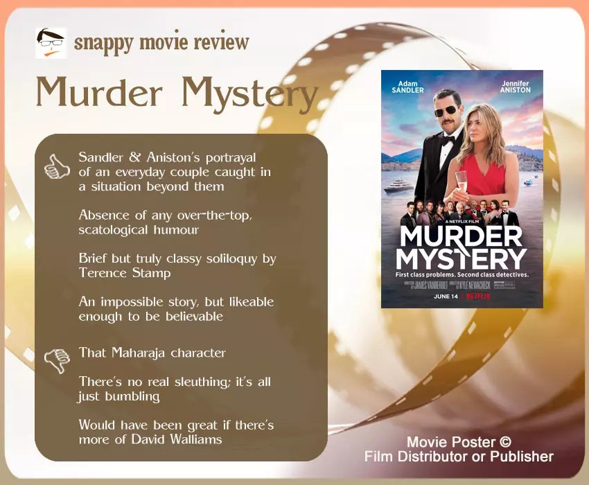 Murder Mystery Movie Review: 4 thumbs-up and 3 thumbs-down.