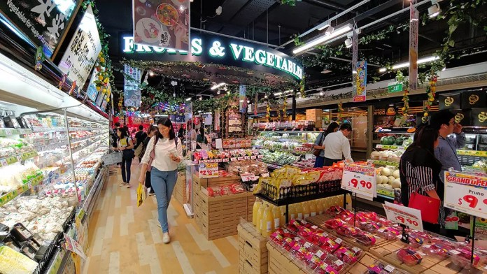 Don Don Donki Clarke Quay Central Fruits and Vegetables Section.