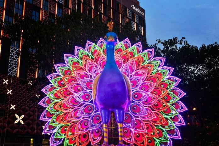 Illuminated Peacock at Little India Deepavali Light-Up 2019, Singapore.
