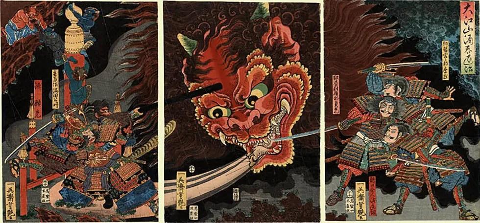 The slaying of Shuten-Doji, the wine drinking Japanese ogre.