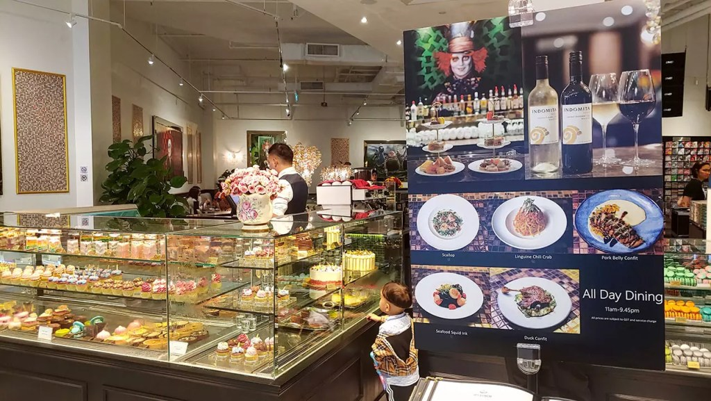 Wonderland Savour VivoCity Dessert Counter and Promotions.