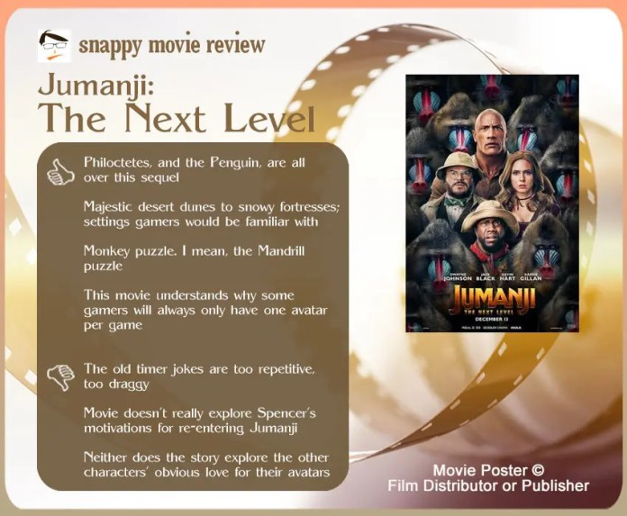 Jumanji: The Next Level Review: 4 thumbs-up and 3 thumbs-down.