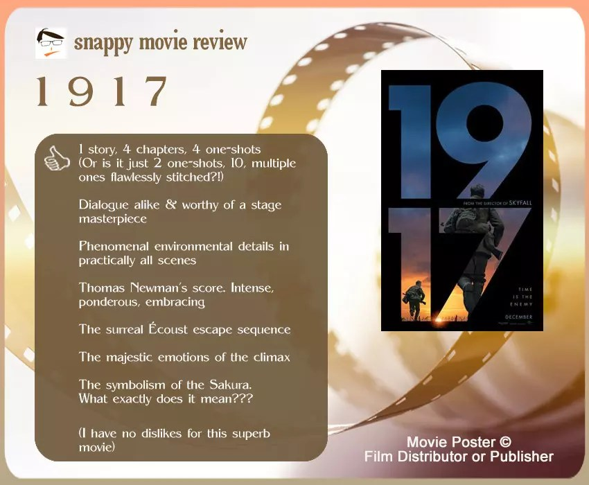 1917 Movie Review: 7 thumbs-up and no thumbs down.