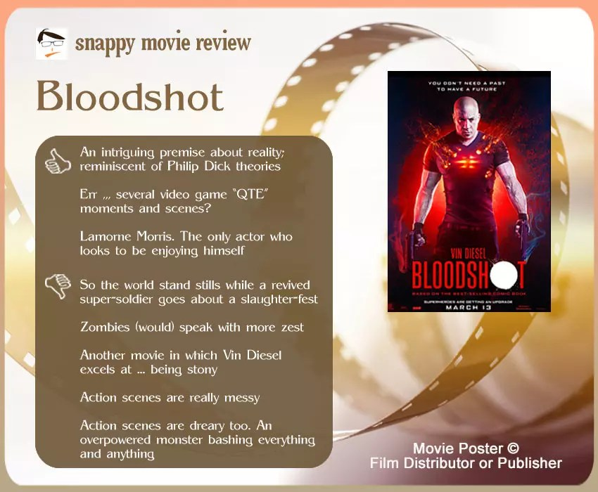 Bloodshot Movie Review: 3 thumbs-up and 5 thumbs-down.
