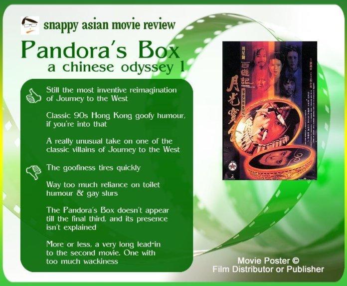 A Chinese Odyssey 1: Pandora's Box (西遊記第壹佰零壹回之月光寶盒) Review: 3 Thumbs-up and 4 Thumbs-Down.