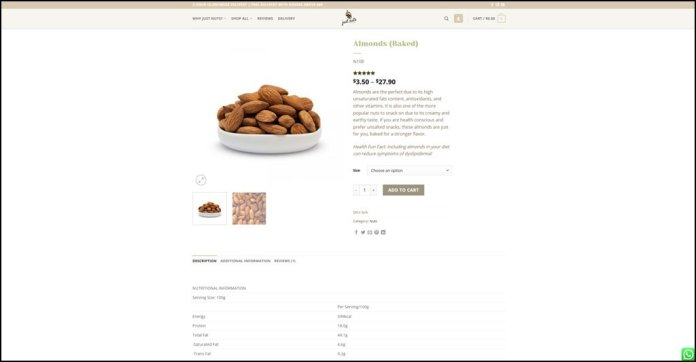Just Nuts Order Screen