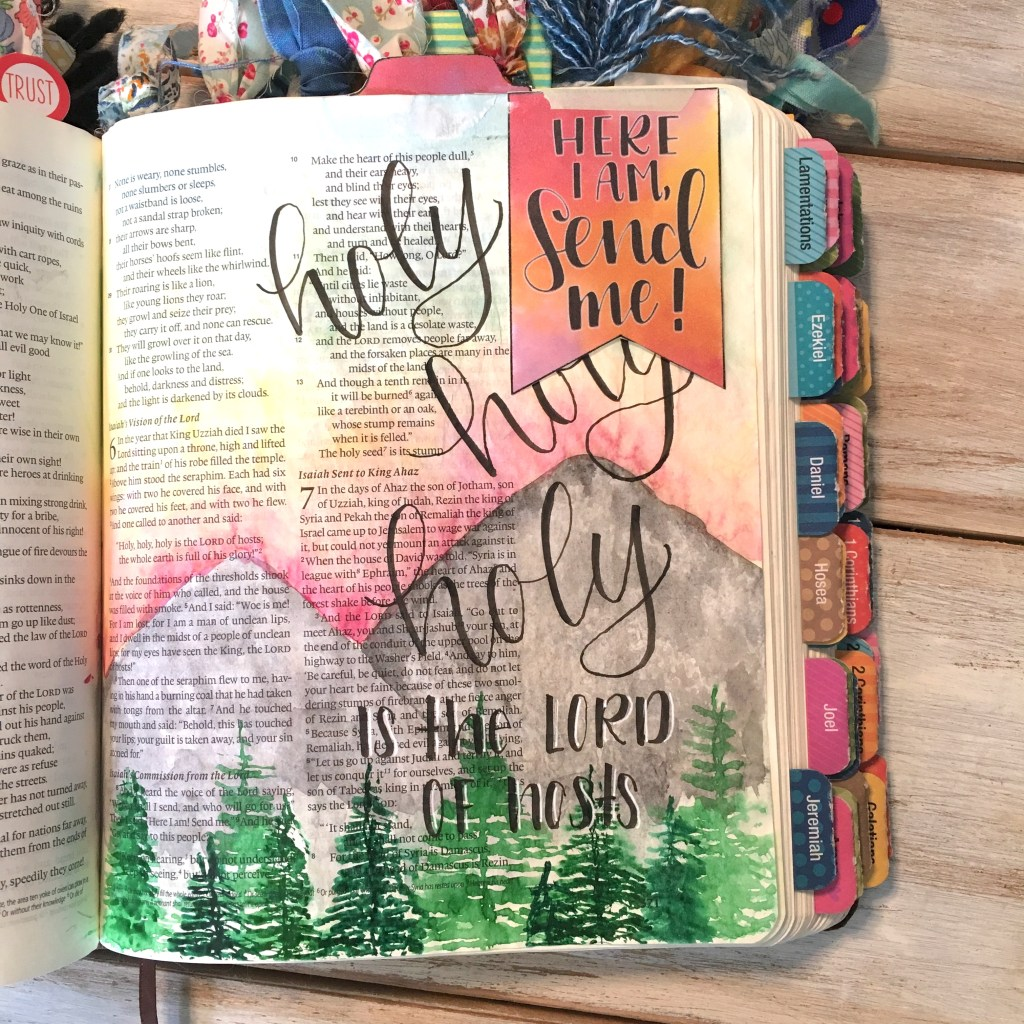 Tip-ins are an easy and quick way to add extra space and pieces of art into your bible journaling. This free printable is a great place to start. Just cut them out and adhere them with tape or glue!