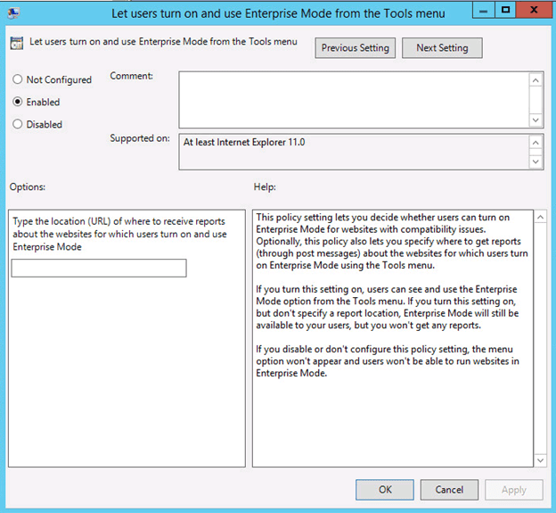 Then go to Use the Enterprise Mode IE website list setting. Enter the local  path to the xml file. a83cbe58a29