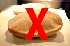 Not that kind of PITA: photo of pita bread with strikethrough
