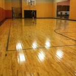 Shooting Hoops the Day After Wood Gym Floor Finish Recoat