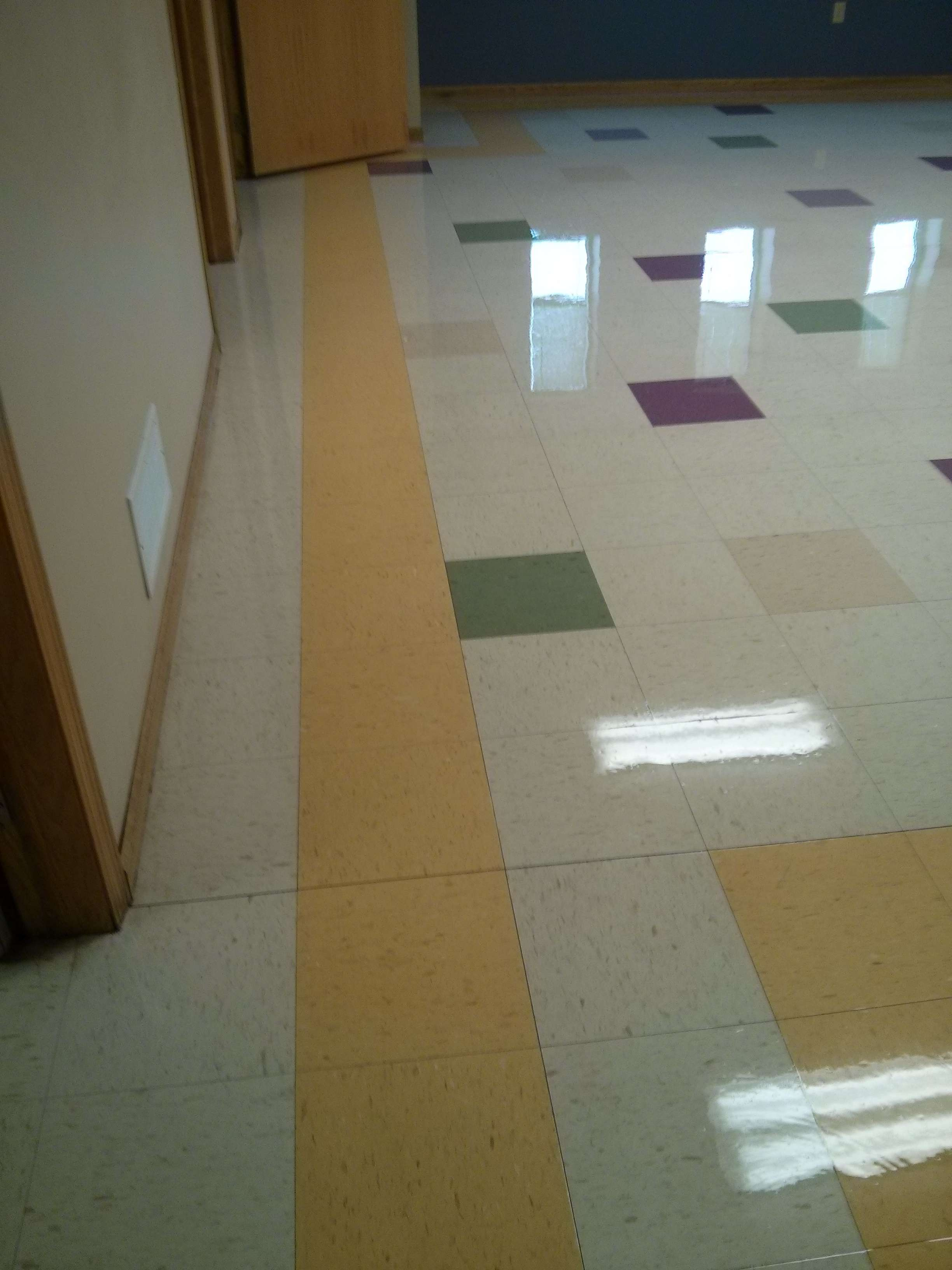 VCT Tile Floor deep scrubbed and re-coated in Maplewood MN