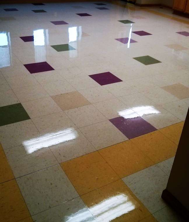 VCT Tile Floor deep scrubbed and recoated in Maplewood MN